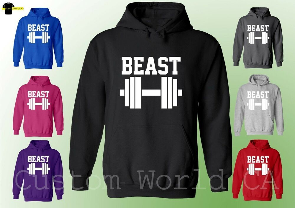 beast gym hoodie - workout hoodie - training sweat shirt