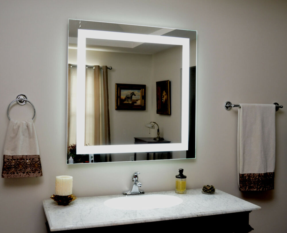 lighted vanity mirror led lighted wall mounted mam83636 36 tall x 36 wide ebay. Black Bedroom Furniture Sets. Home Design Ideas