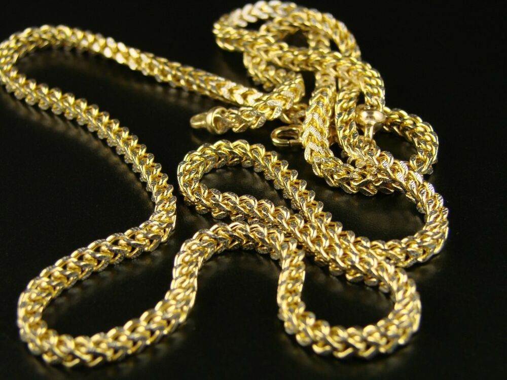 1 20th 10k yellow gold franco box cuban chain necklace mens 38 inch 3 mm ebay. Black Bedroom Furniture Sets. Home Design Ideas