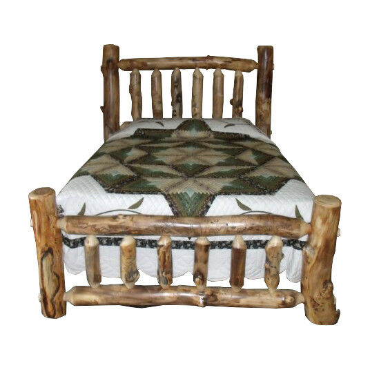 Rustic aspen log bed king size mission style for King size footboard