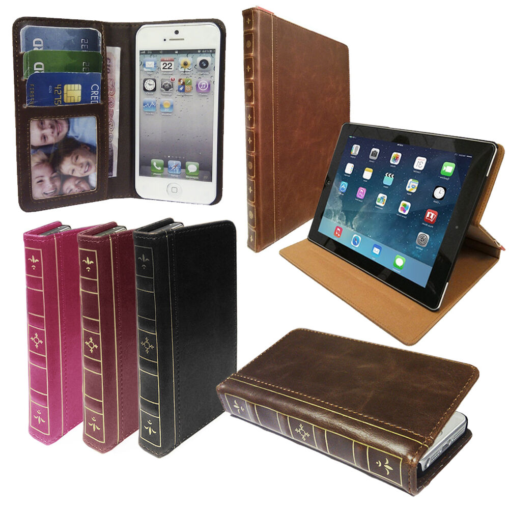 Classic Book Tablet Cover : Vintage book classic retro leather wallet case cover for