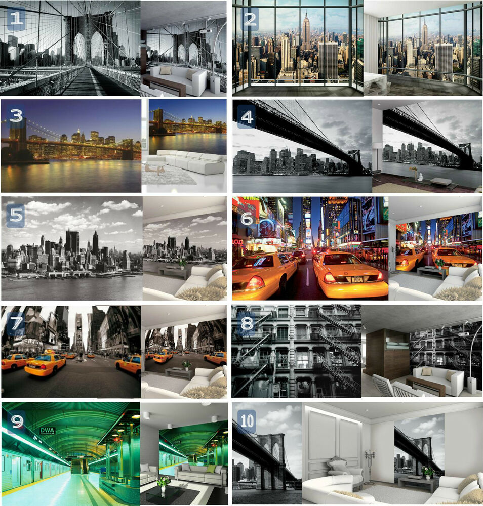 new york themed large wall mural wallpaper poster home decor decoration paste ebay. Black Bedroom Furniture Sets. Home Design Ideas