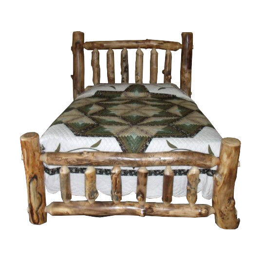 Rustic aspen log bed twin size mission style for Twin footboard