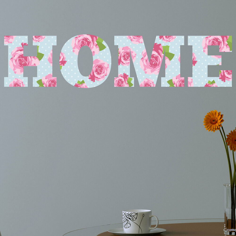 Home shabby chic floral full colour wall sticker decal for Shabby chic wall art