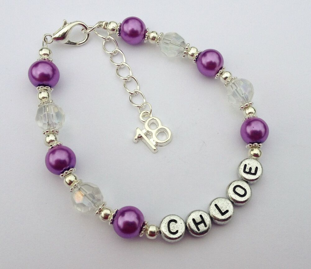 Girls Purple Personalised 18th Birthday Bracelet Jewellery