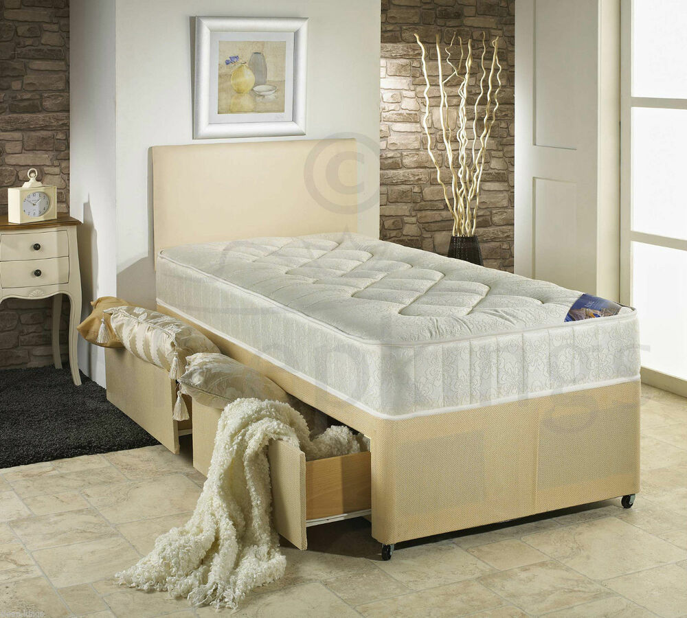 3ft single divan bed cream with quilted mattress storage for Divan bed sets with headboard