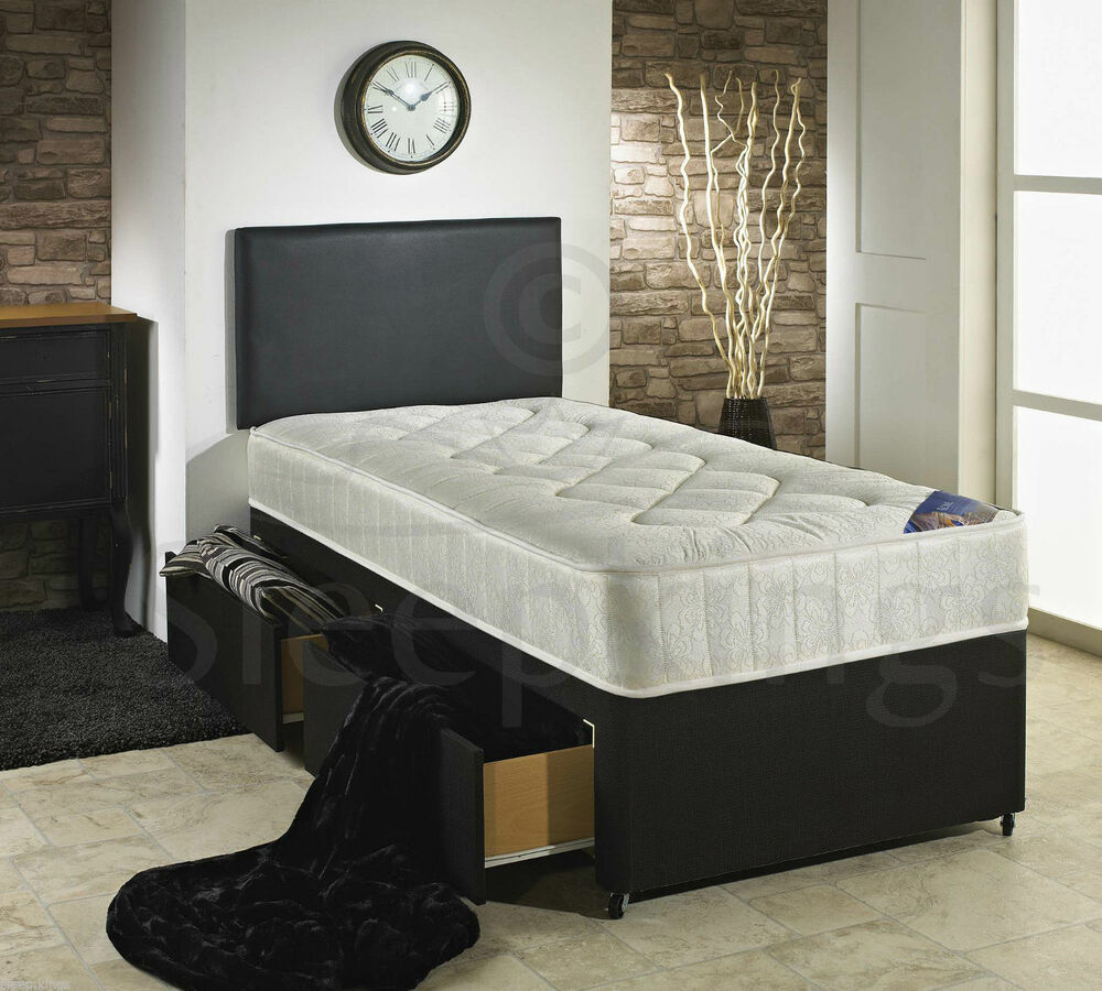 3ft single divan bed with quilted mattress storage for Single divan with drawers and headboard