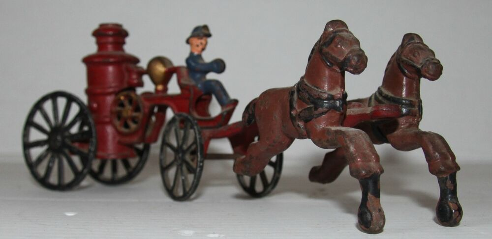 20th Century Toys : Tin toy fire cart pulled by horses made in usa late th