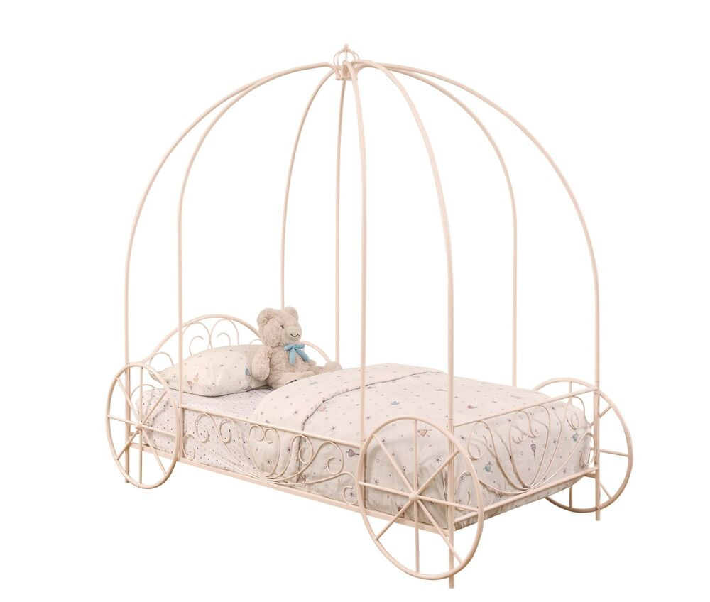 powder pink carriage princess girl 39 s twin canopy bed bedroom furniture ebay. Black Bedroom Furniture Sets. Home Design Ideas