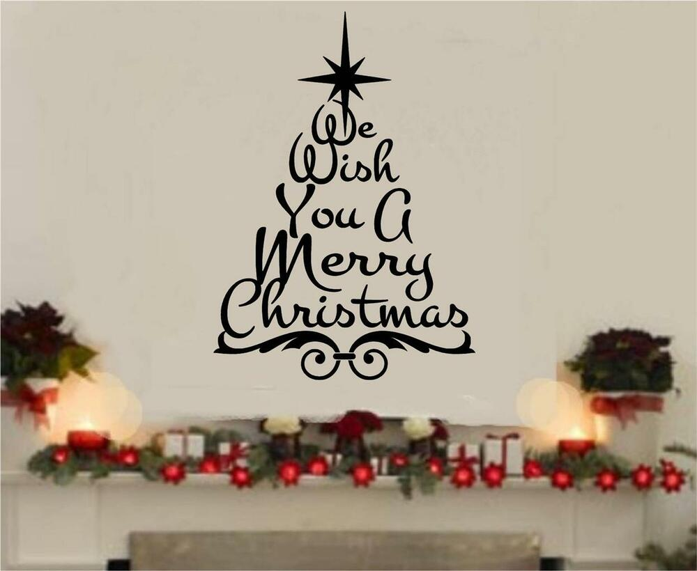 We wish you a merry christmas vinyl decal wall decor for Christmas wall mural plastic