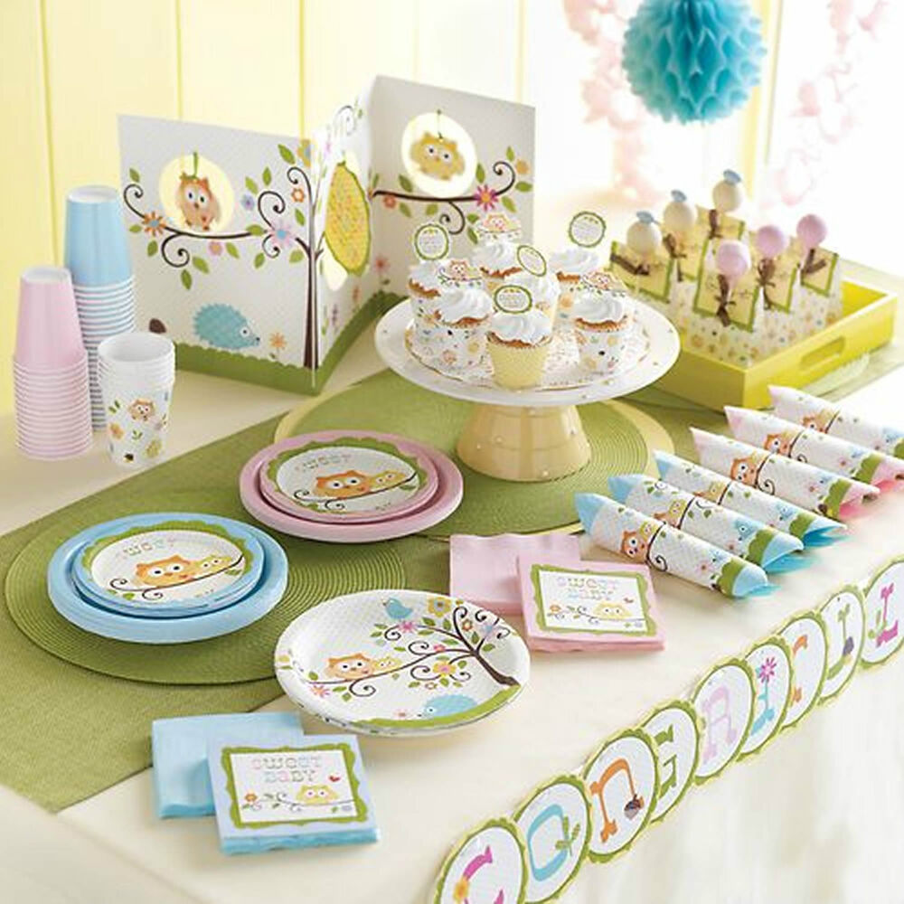 Baby shower christening happi tree boys girls deluxe party for Baby shower decoration kits boy