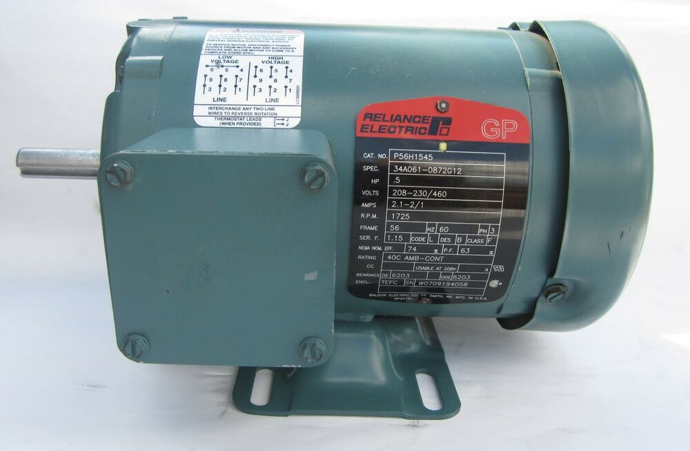 Baldor reliance electric motor p56h1545 1 2 hp 1725 rpm for 1 2 hp ac motor