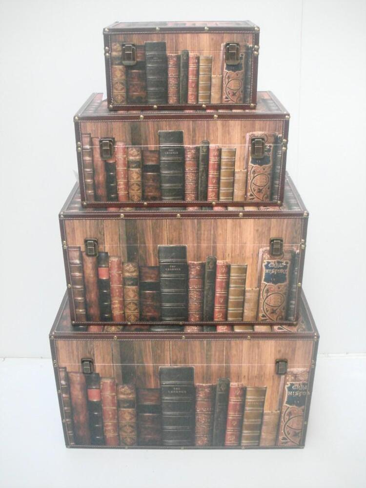 Old Book Wooden Teenage Bedroom Living Room Storage Chest Trunk Toy Blanket B
