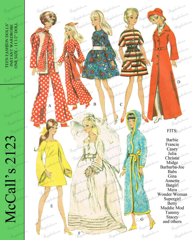 1960's Barbie Doll Clothes Sewing Pattern - McCalls | eBay
