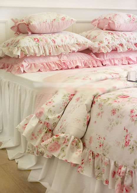 shabby chic cottage floral quilt duvet cover pillow case set white pink queen ebay. Black Bedroom Furniture Sets. Home Design Ideas