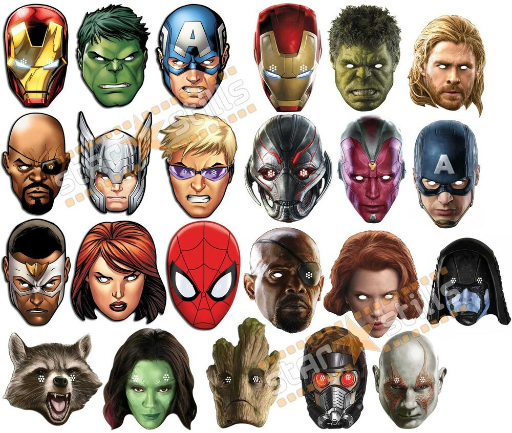 Marvel Malvorlagen Marvel Superhero The Marvel Super: OFFICIAL Marvel Super Hero Card Party Face Masks Mask The