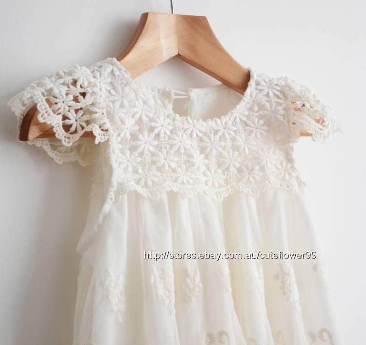 New ivory flower girl dress lace vintage special occasion for Ivory vintage lace wedding dress