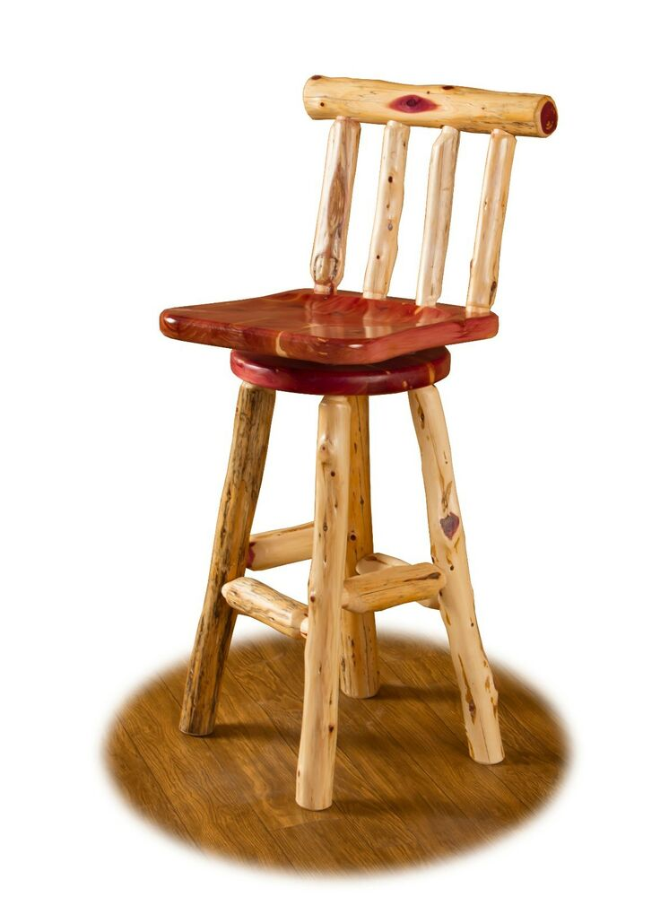 Rustic red cedar log swivel bar counter stool with 24 for Counter stools with backs