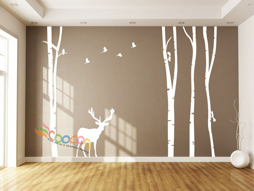wall decor decal sticker large birch tree trunk forest 4 trees with deer 96 h ebay. Black Bedroom Furniture Sets. Home Design Ideas