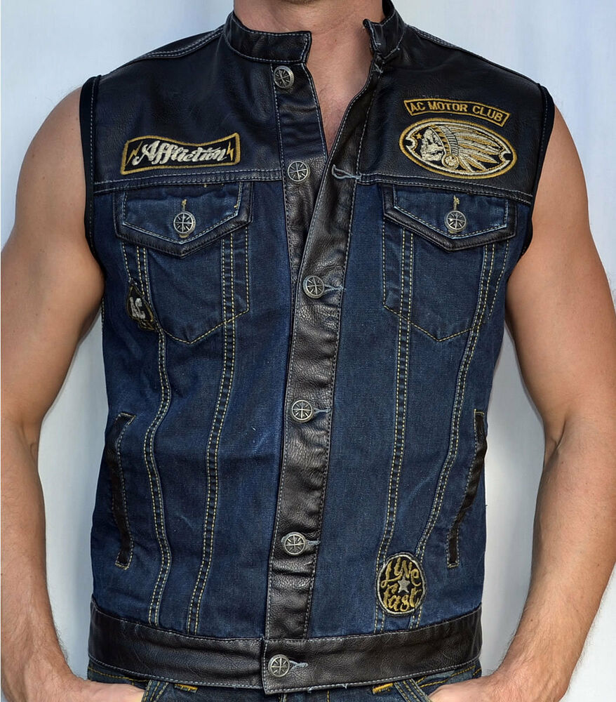 First Mfg - Murdock Denim Vest This denim vest by First Manufacturing is made of rough neck 14 oz. raw black denim. It is a great motorcycle vest with a simple low profile style. The Murdock vest has plenty of pockets for your belongings and is.
