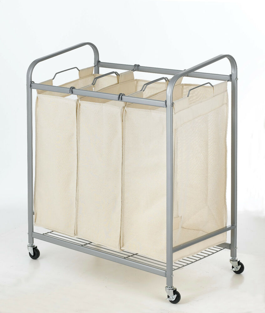 Heavy Duty 3 Bag Laundry Sorter Cart Hamper Organizer Ls03