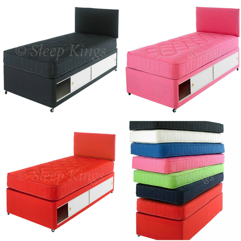 2ft6 3ft single kids coloured cotton divan bed with for Single divan beds with mattress and headboard