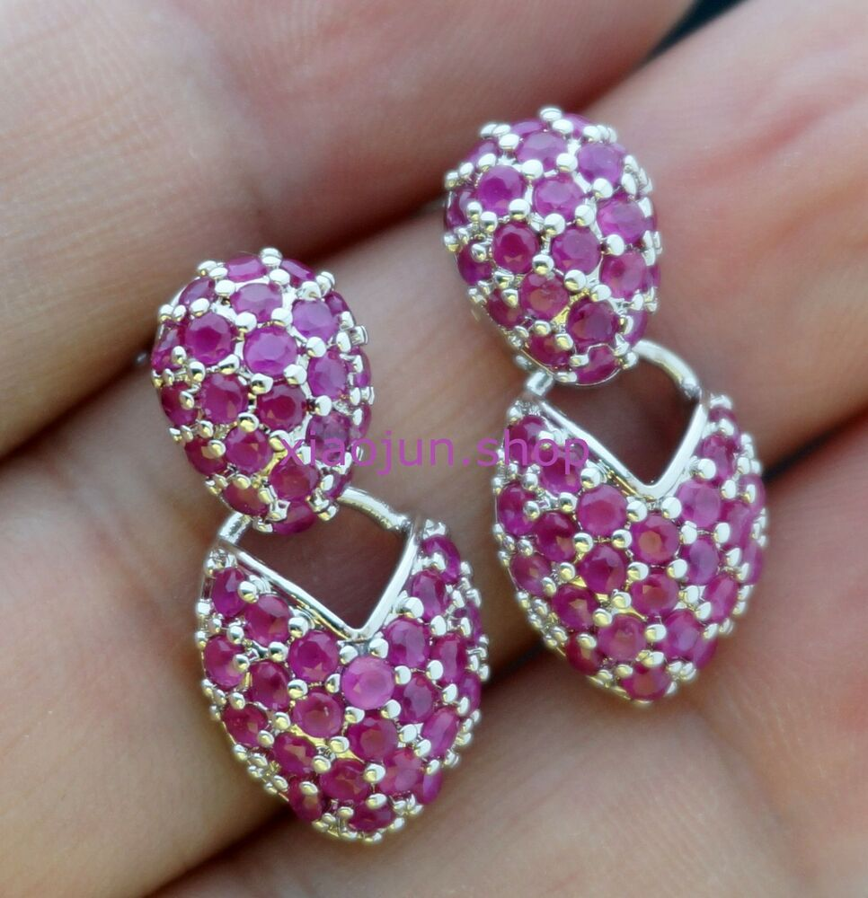 Pink Ruby Jewellery: NATURAL RED RUBY 925 SILVER DANGLE EARRINGS