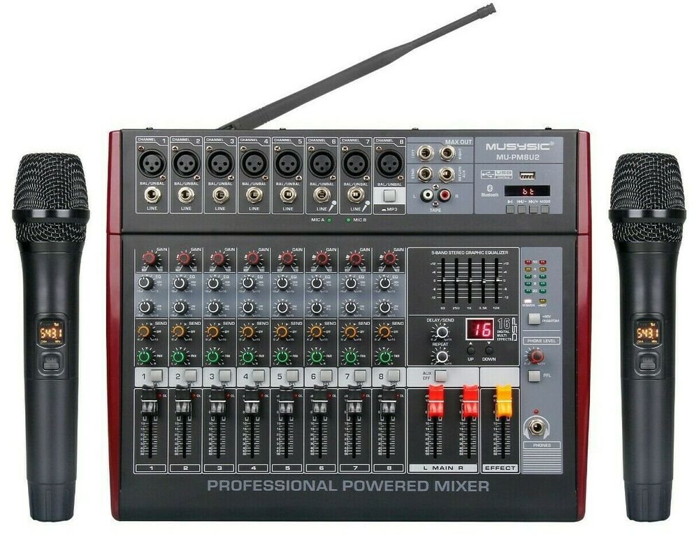 8 channel 4000 watts professional power mixer amplifier usb sd pa system 16 dsp ebay. Black Bedroom Furniture Sets. Home Design Ideas