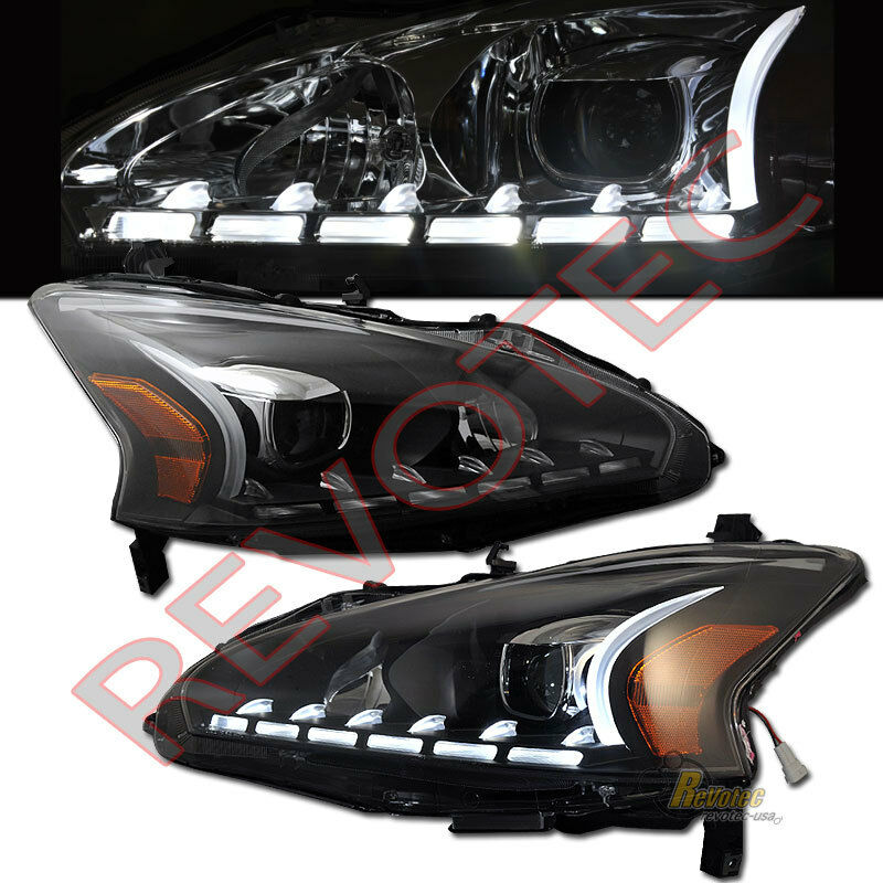 black led bar projector headlights for 2013 2015 nissan. Black Bedroom Furniture Sets. Home Design Ideas