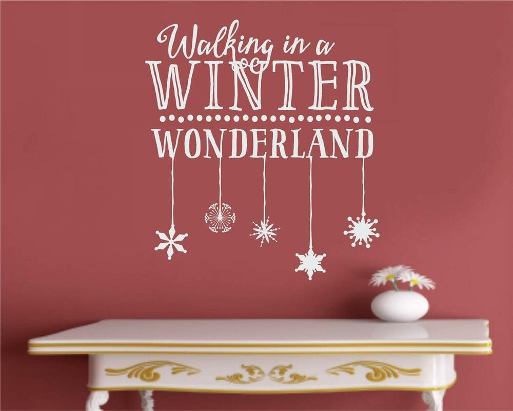 Walking in a winter wonderland christmas vinyl decal wall for Christmas wall mural plastic