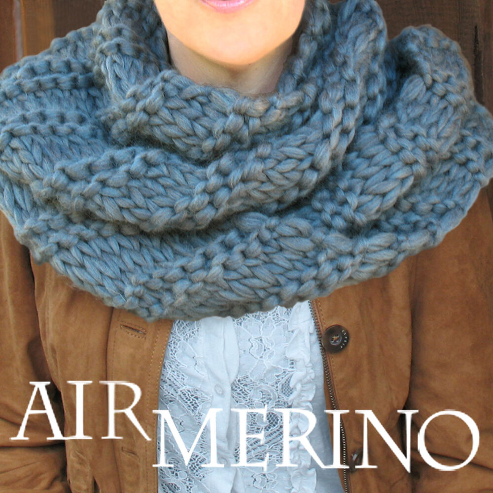 Knitting Pattern Wool Kits : AIR MERINO Cowl KNIT KIT: Yarn, Knitting Needles US 19, Pattern. DIY eBay