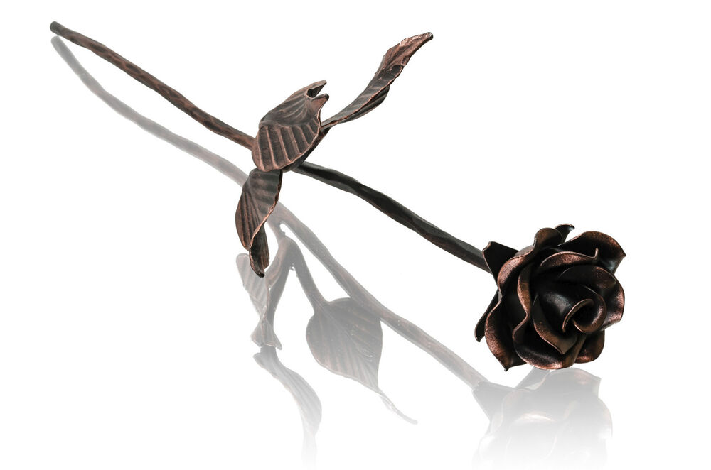 Xl Copper Stained Iron Wrought Rose Anniversary