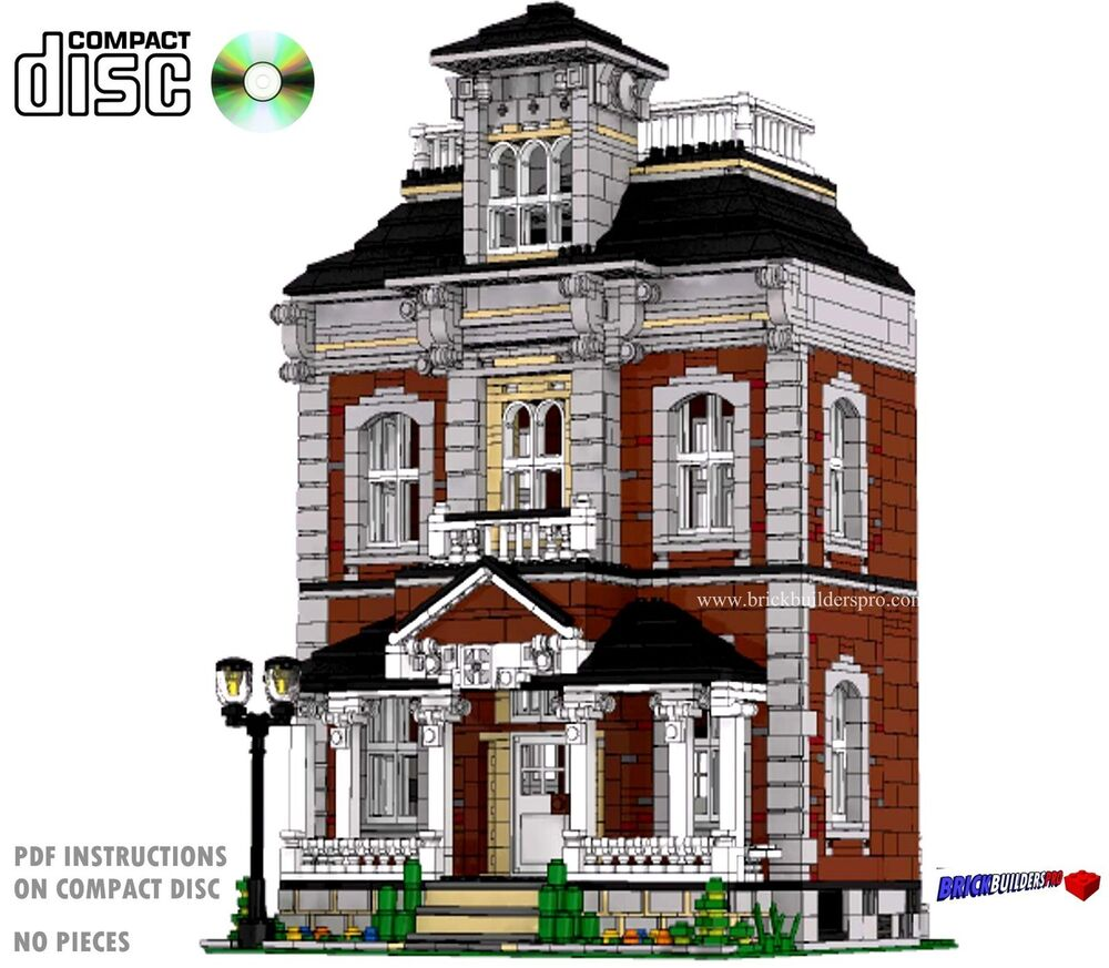 Cd hilltop manor victorian house lego custom pdf book for Custom victorian homes