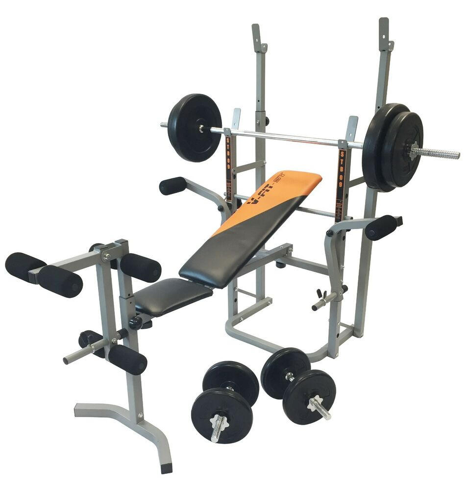 V Fit Stb09 4 Folding Weight Bench With 50kg Cast Iron Weight Set R R P Ebay