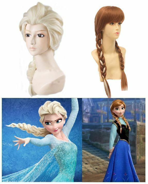 New Frozen Elsa Anna Hair Wig Braid Costume For Kids Adult