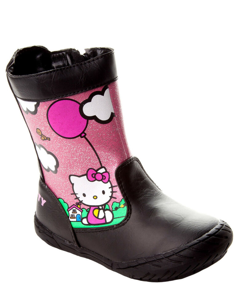 girls official hello kitty black winter boots with full