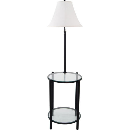 """Glass End Table With Lamp: Mainstays 54"""" Glass End Table w/Built In 3-Way Floor Lamp - Black  w/Linen Shade 