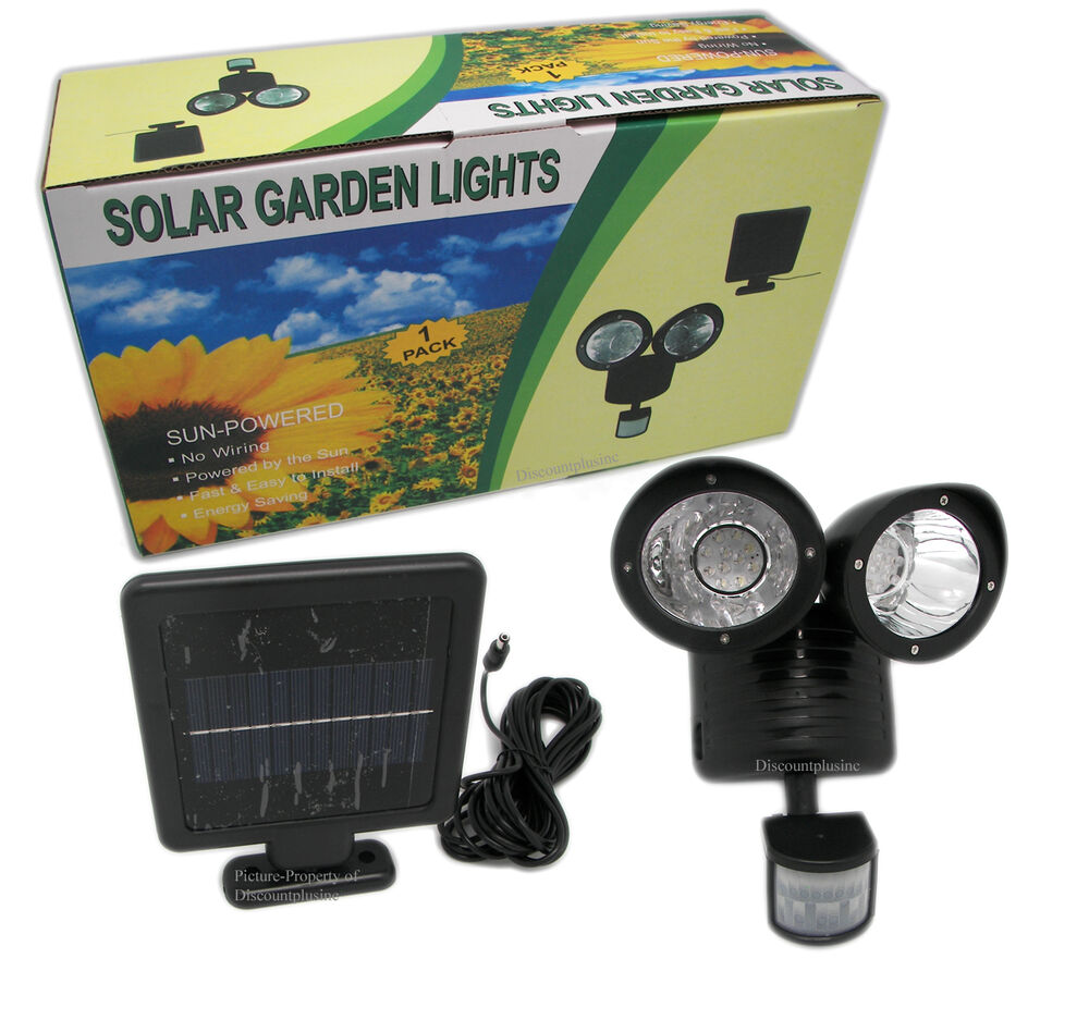 E27 Solar Battery Powered 22 Led Camping Light Outdoor: Dual 22 LED Motion Sensor Solar Powered Security Spotlight