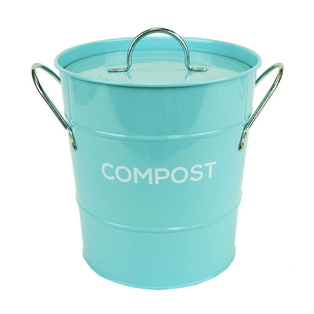 Kitchen Compost Container: Light Blue Compost Caddy With Innter Bucket