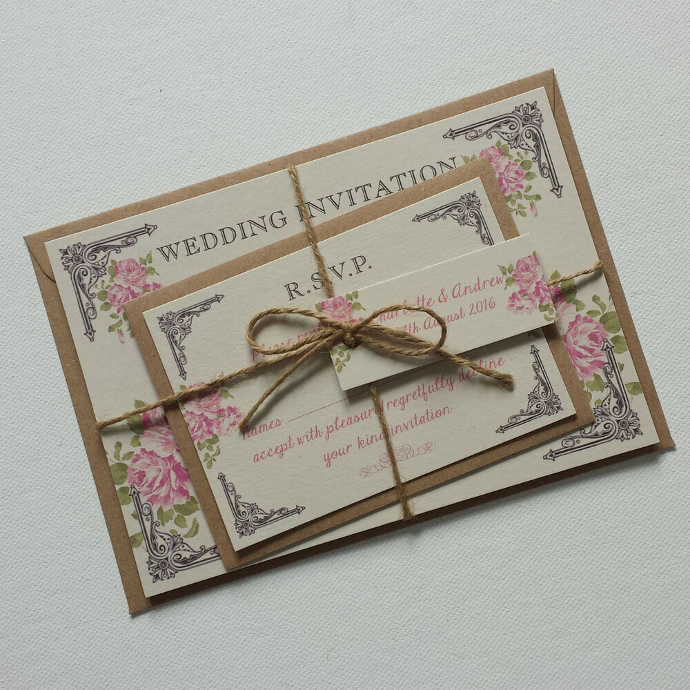 vintage wedding invitations vintage postcard style wedding invitations amp rsvp pink 8323