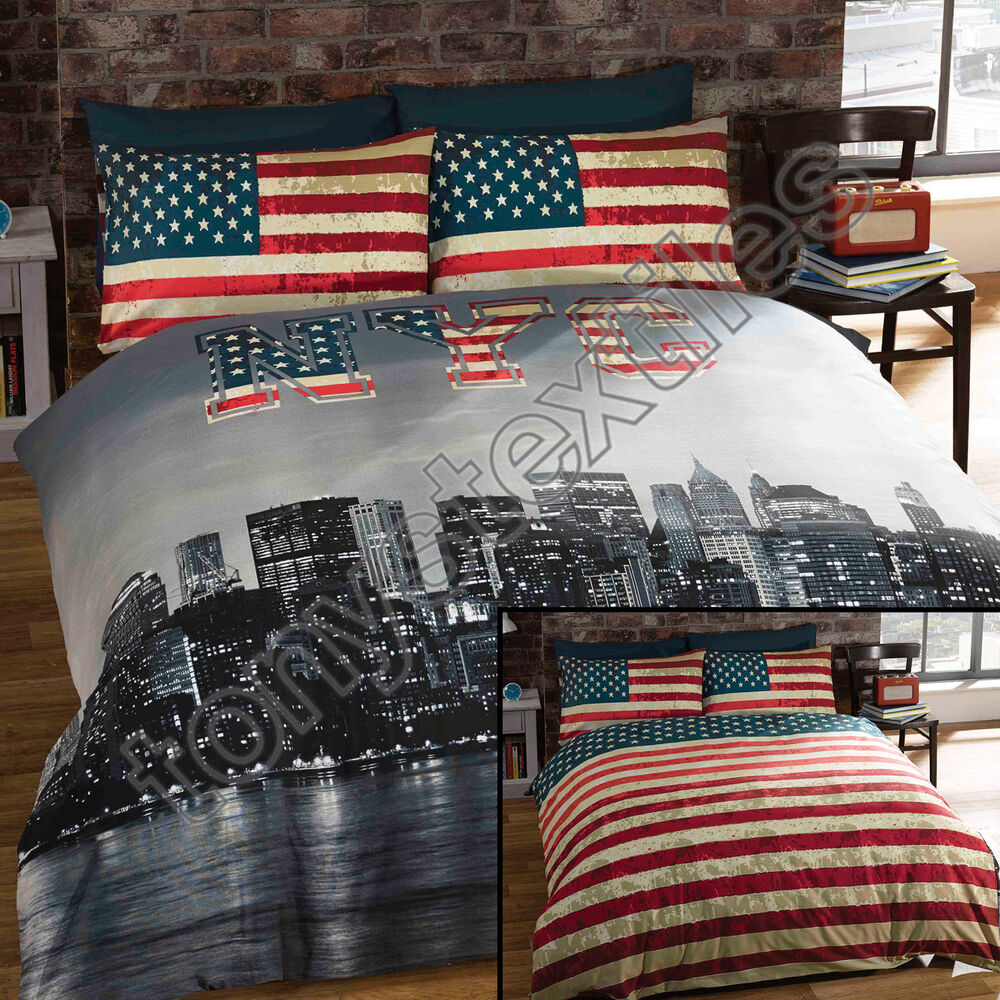 New york city skyline american flag usa reversible quilt for Bed linen sizes south africa
