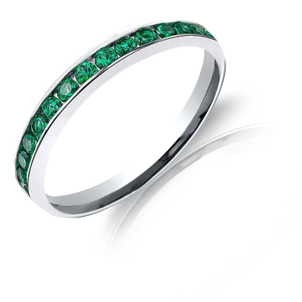 emerald green swarovski crystals eternity stackable ring