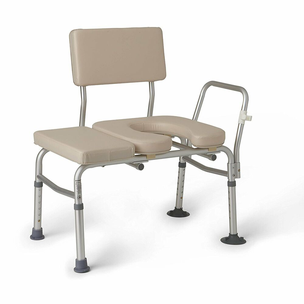 Guardian Medline Padded Transfer Bench W Commode Opening Ebay