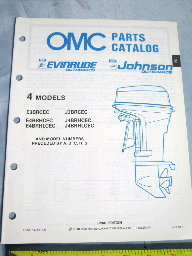 1989 omc johnson evinrude 4 hp outboard boat motor parts