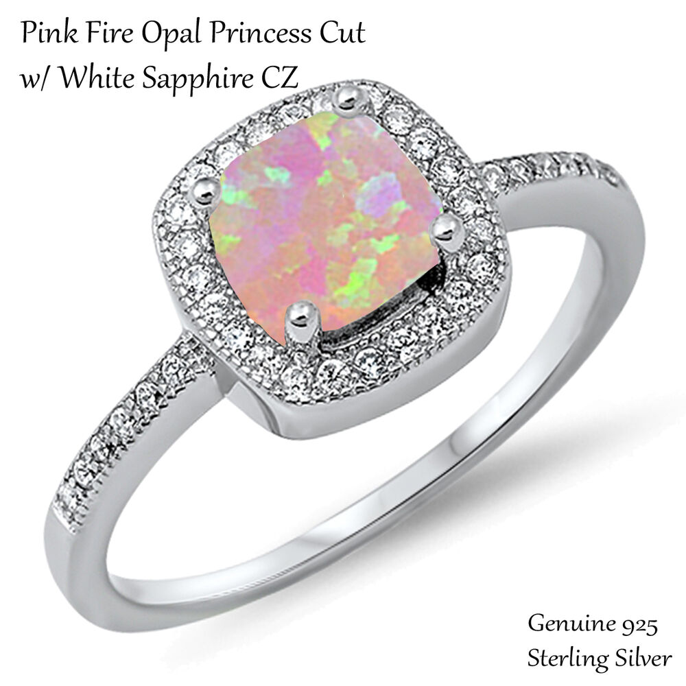 Princess Cut Promise Engagement Pink Fire Opal Sterling