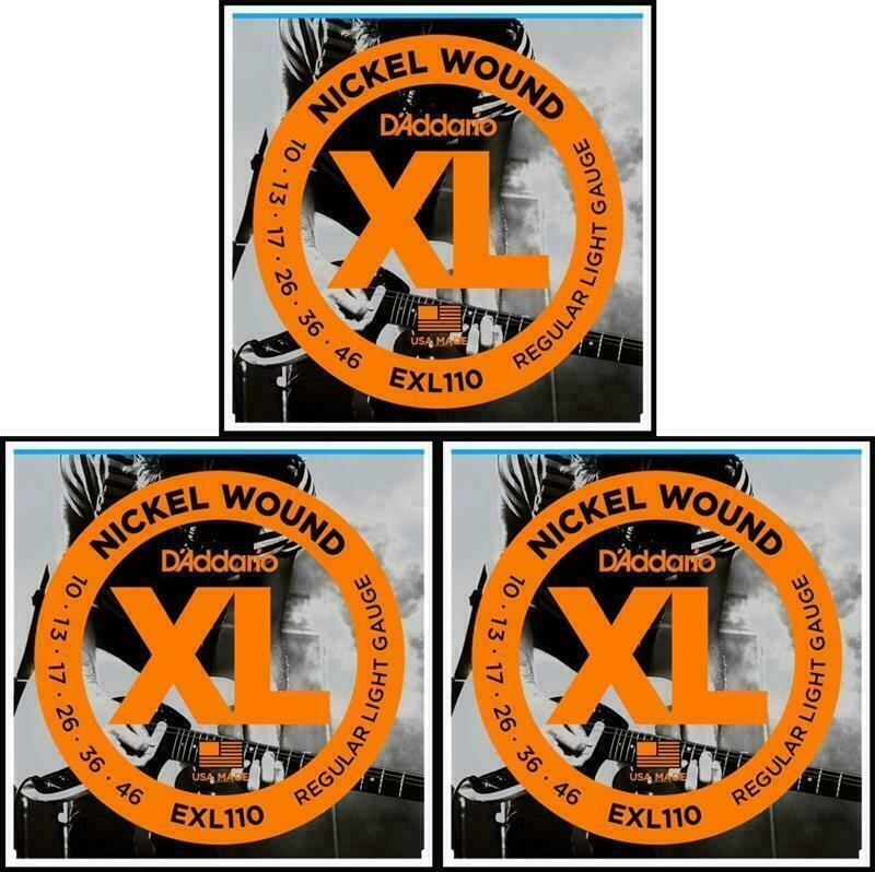 3 sets d 39 addario exl110 nickel wound light gauge electric guitar strings 10 46 ebay. Black Bedroom Furniture Sets. Home Design Ideas