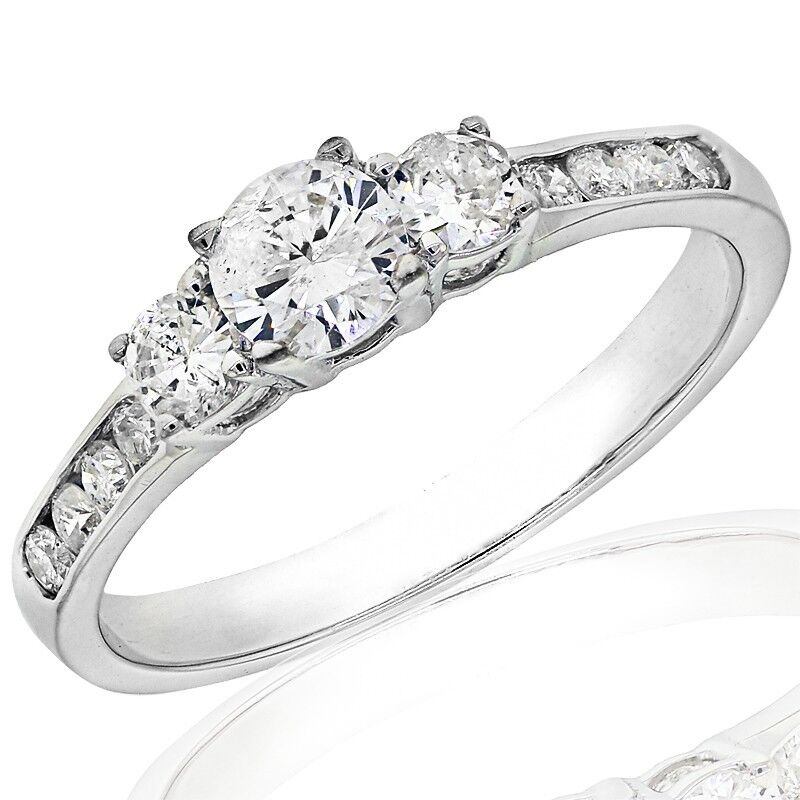 1 10ct three engagement ring in 14k white