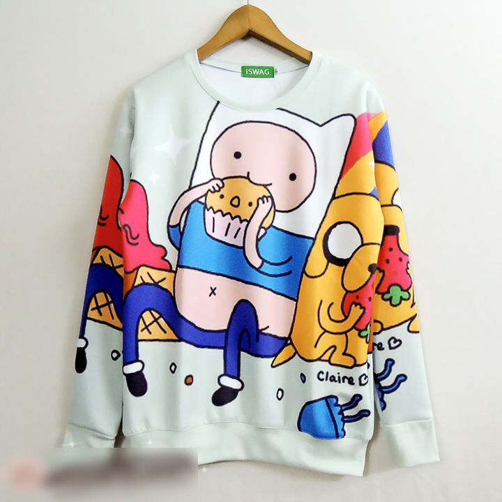 Adventure Time Sweatshirt Pullover Cute Finn Jake