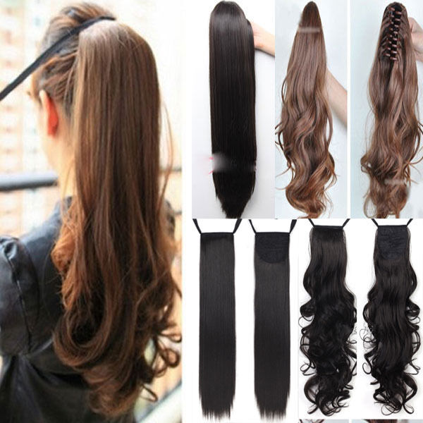 Clip In Ponytail Pony Tail Hair Extension Wrap On Hair