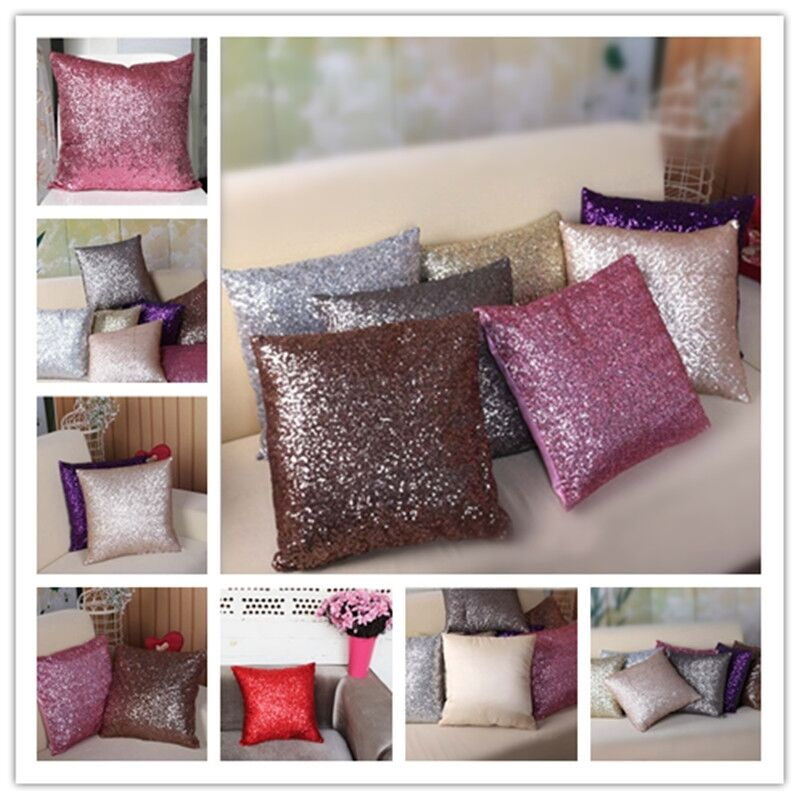 Http Www Ebay Com Au Itm Solid Color Glitter Sequins Throw Pillow Case Cafe Home Decor Cushion Covers Jj 131335815451